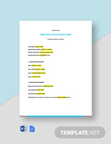Simple Freelance Application Form Template