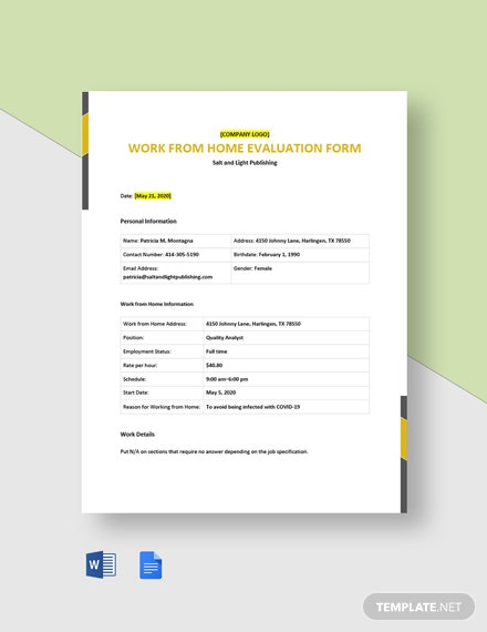 Work From Home Evaluation Form