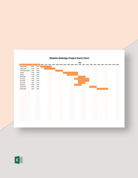 Website Redesign Project Gantt Chart Template