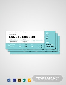 Free Simple Annual Concert Ticket Template