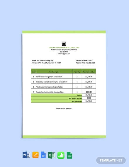 Freelance Consultant Receipt Template