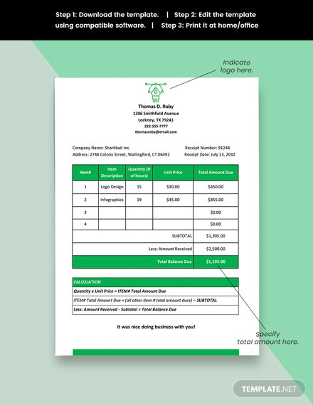 Freelance Receipt Of Payment Template format