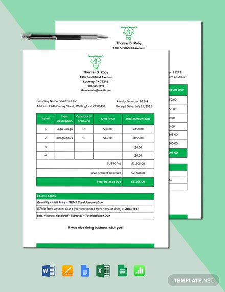 Freelance Receipt of Payment Template