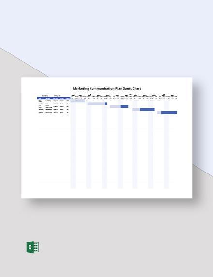 Marketing Communication Plan Gantt Chart Template