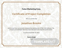 Free Project Completion Certificate Template