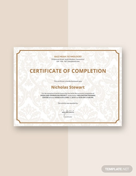 project completion certificate sample