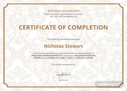 Free Project Completion Certificate Template in Adobe Photoshop ...