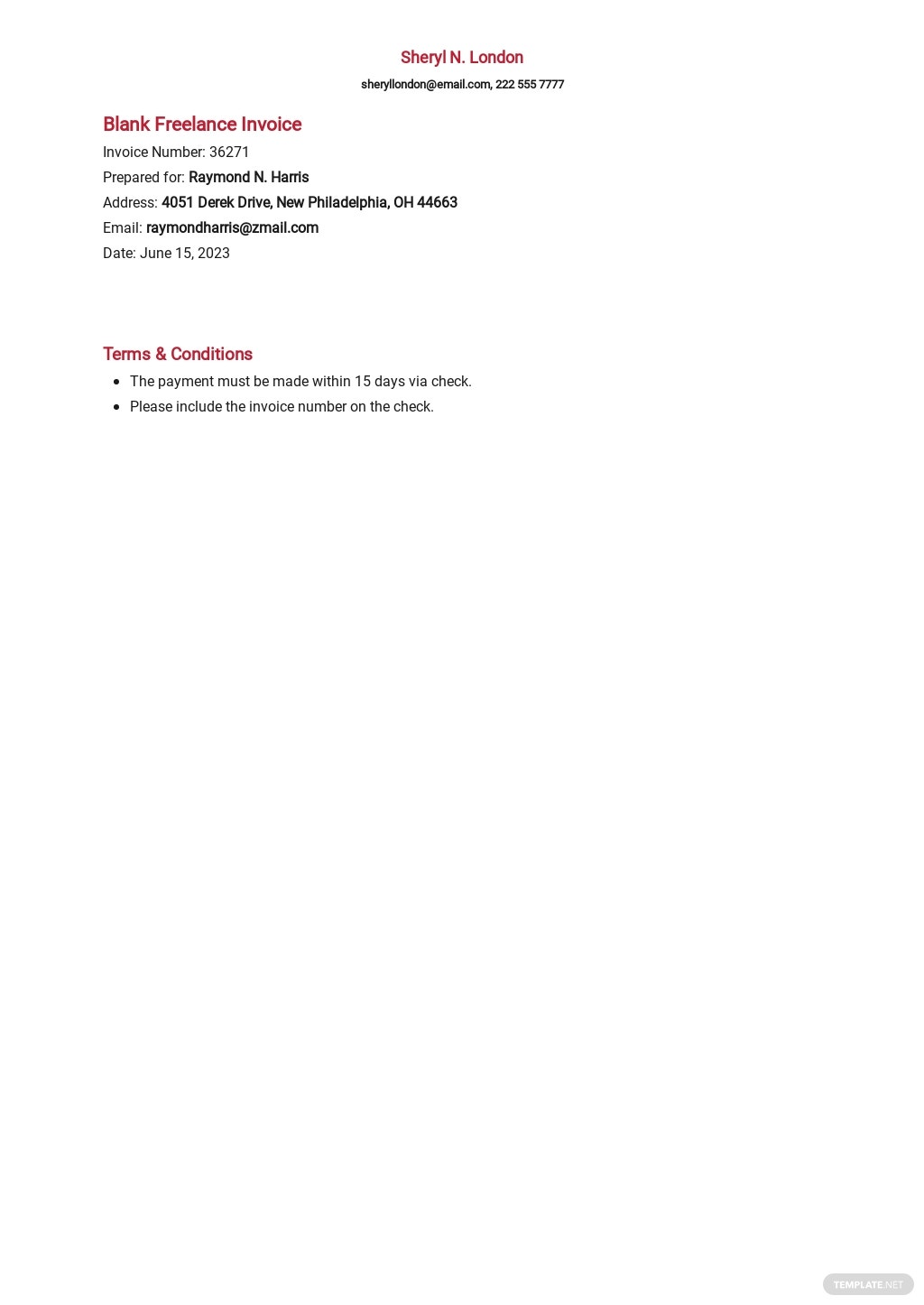 Blank Freelance Invoice Template