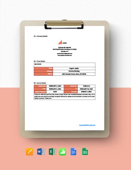 Free Simple Freelance Invoice Template