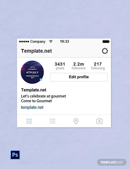 4th of July Instagram Profile Photo Template  - PSD