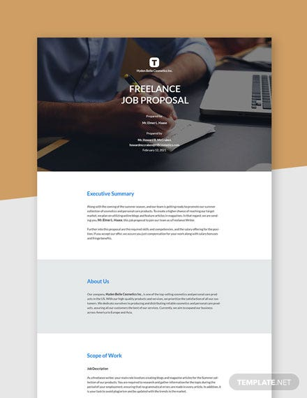 Editable Freelance Job Proposal Template