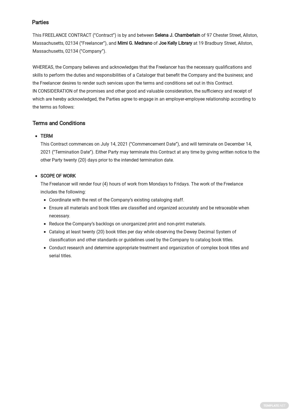 Free Simple Freelance Contract Template 1.jpe