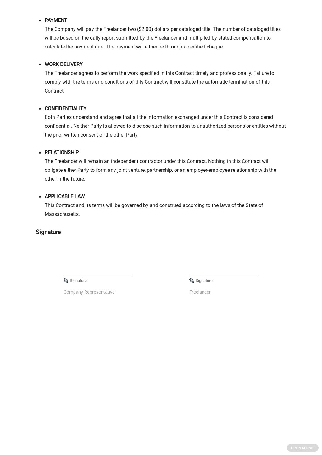 Free Simple Freelance Contract Template 2.jpe