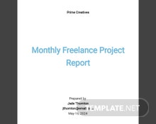 Monthly Freelance Project Report Template