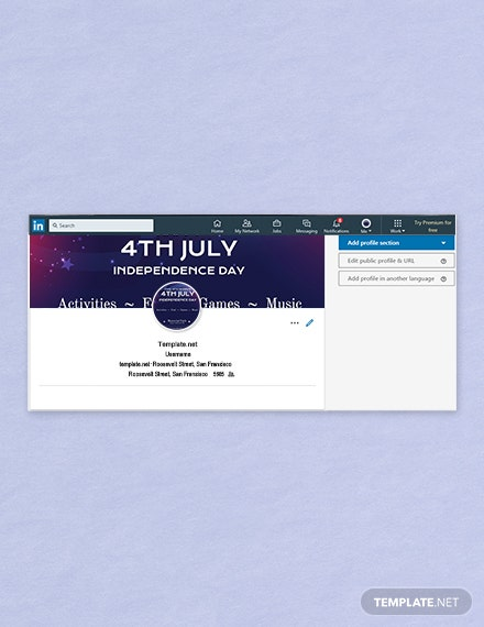 Free 4th of July LinkedIn Company Cover