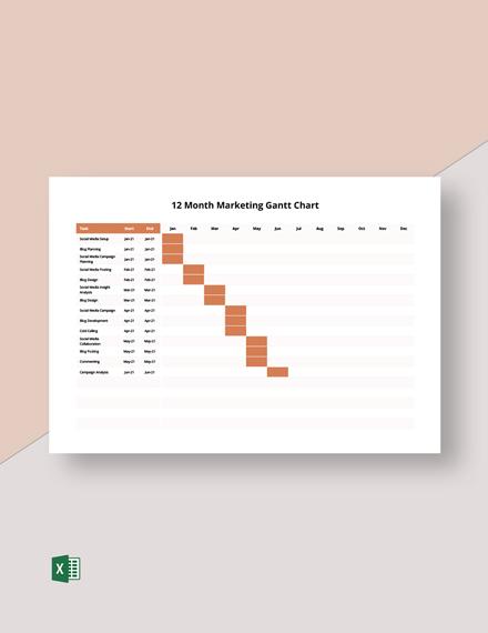 12 Month Marketing Gantt Chart Template