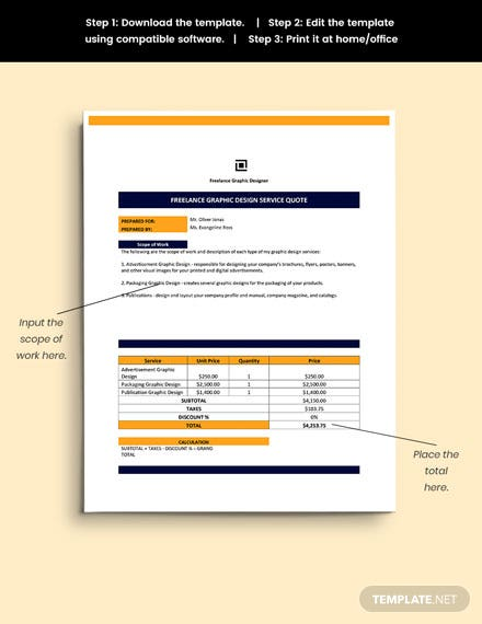 Freelance Service Quotation Template sample