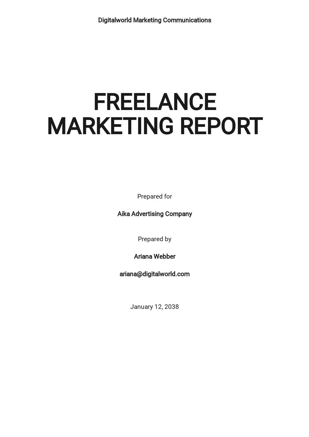 Freelance Marketing Report Template