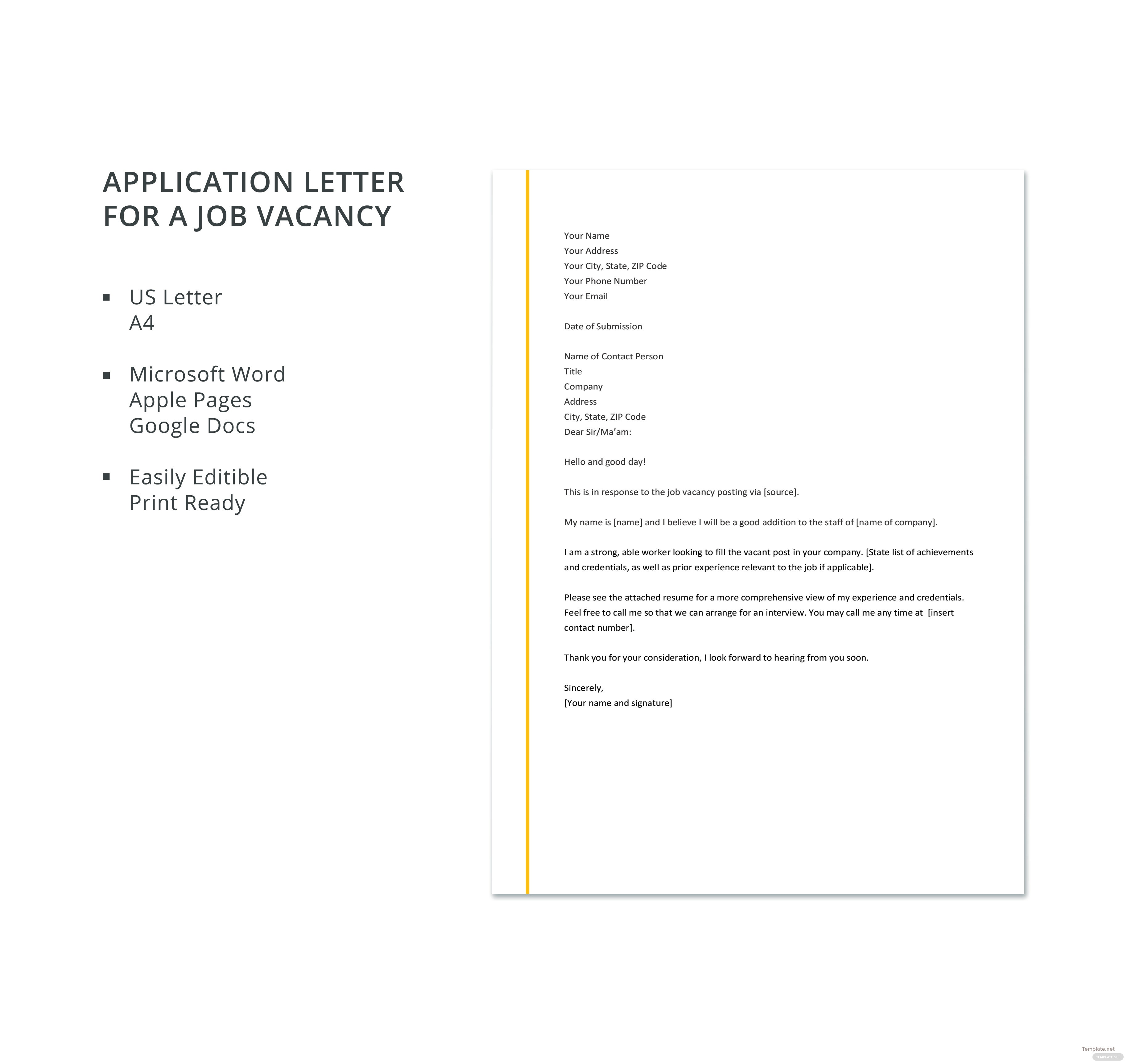 Free application letter template for a job vacancy in microsoft word free application letter template for a job vacancy spiritdancerdesigns Images