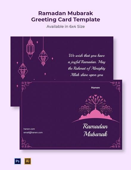 Ramadan Mubarak Greeting Card Template