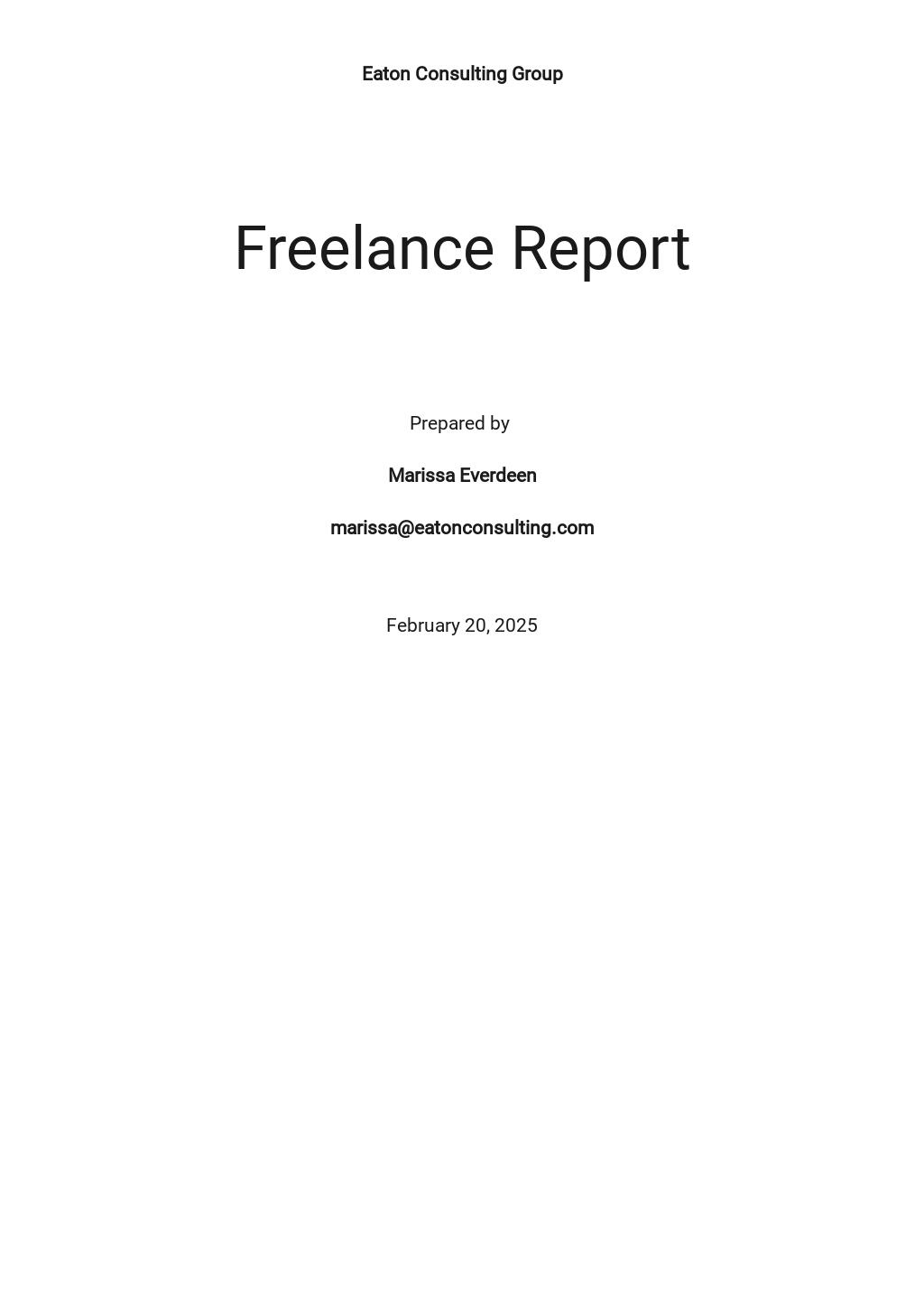 Basic Freelance Report Template