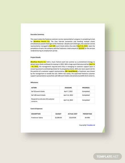 Free Simple Freelance Report Download