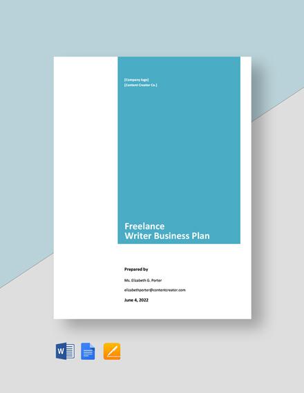 Freelance Writer Business Plan Template
