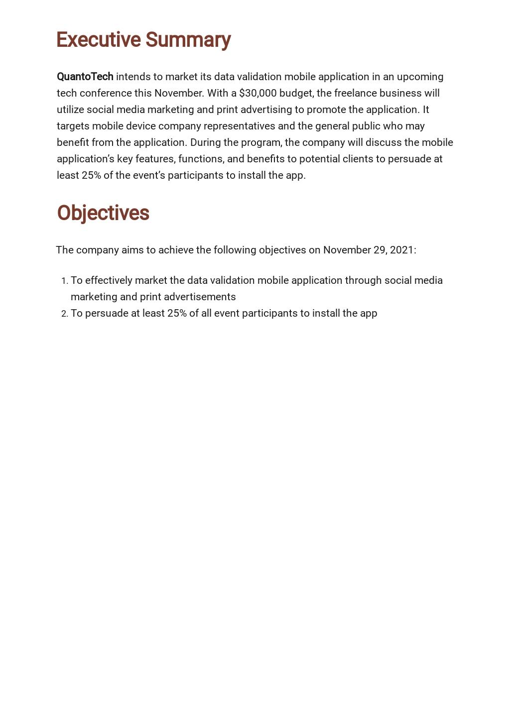 Free Sample Freelance Marketing Plan Template 1.jpe