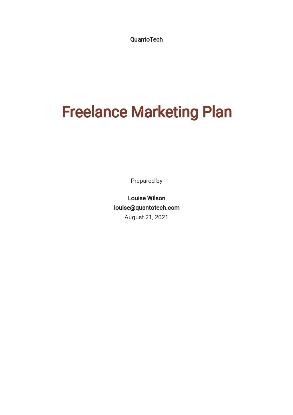 Sample Freelance Marketing Plan Template