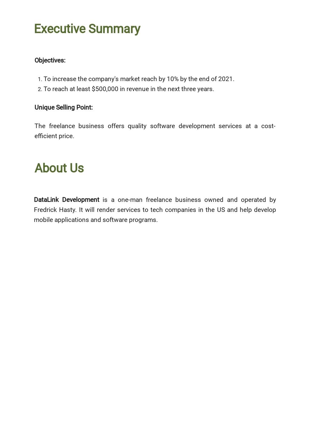 Free Simple Freelance Business Plan Template 1.jpe