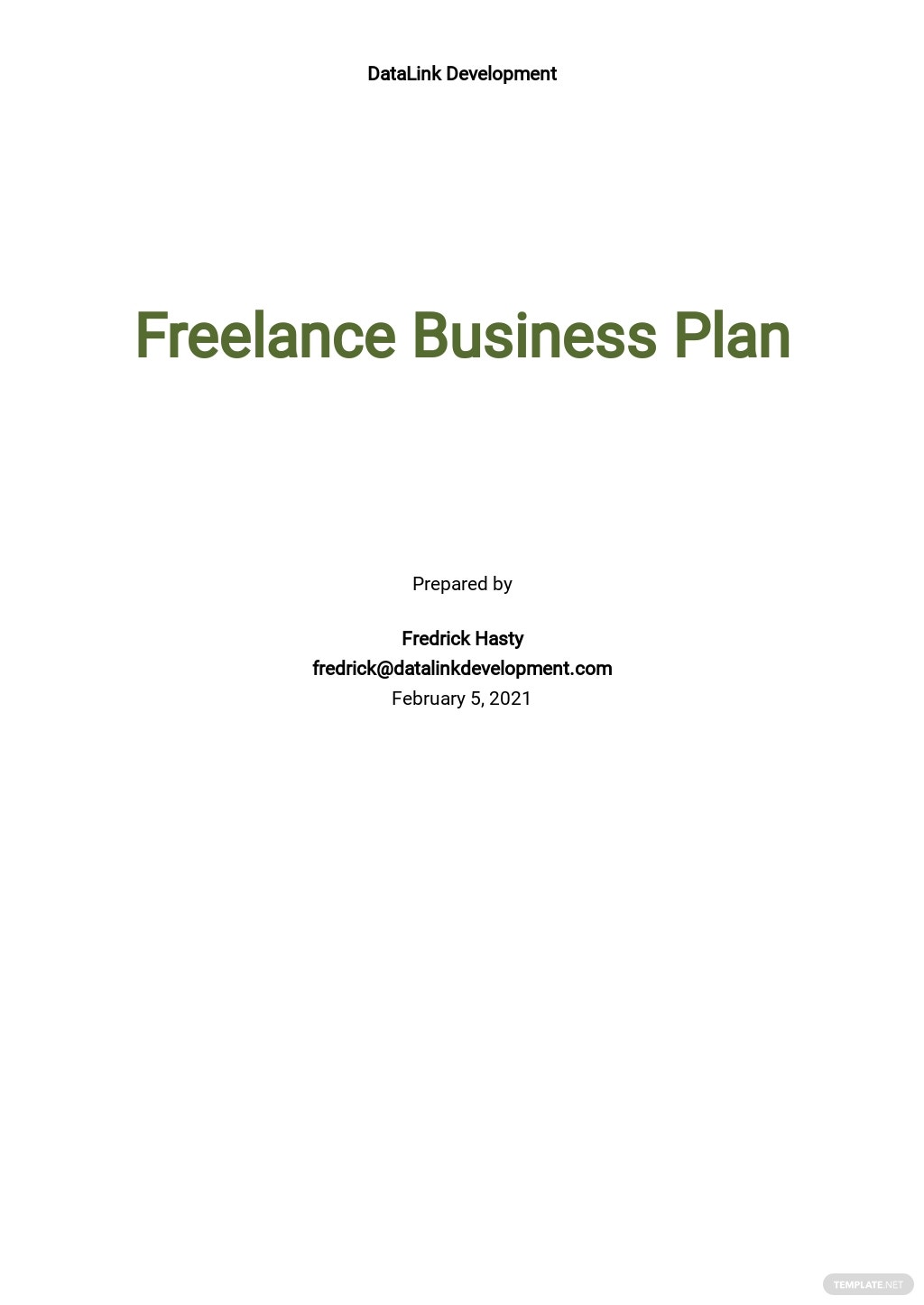 Simple Freelance Business Plan Template