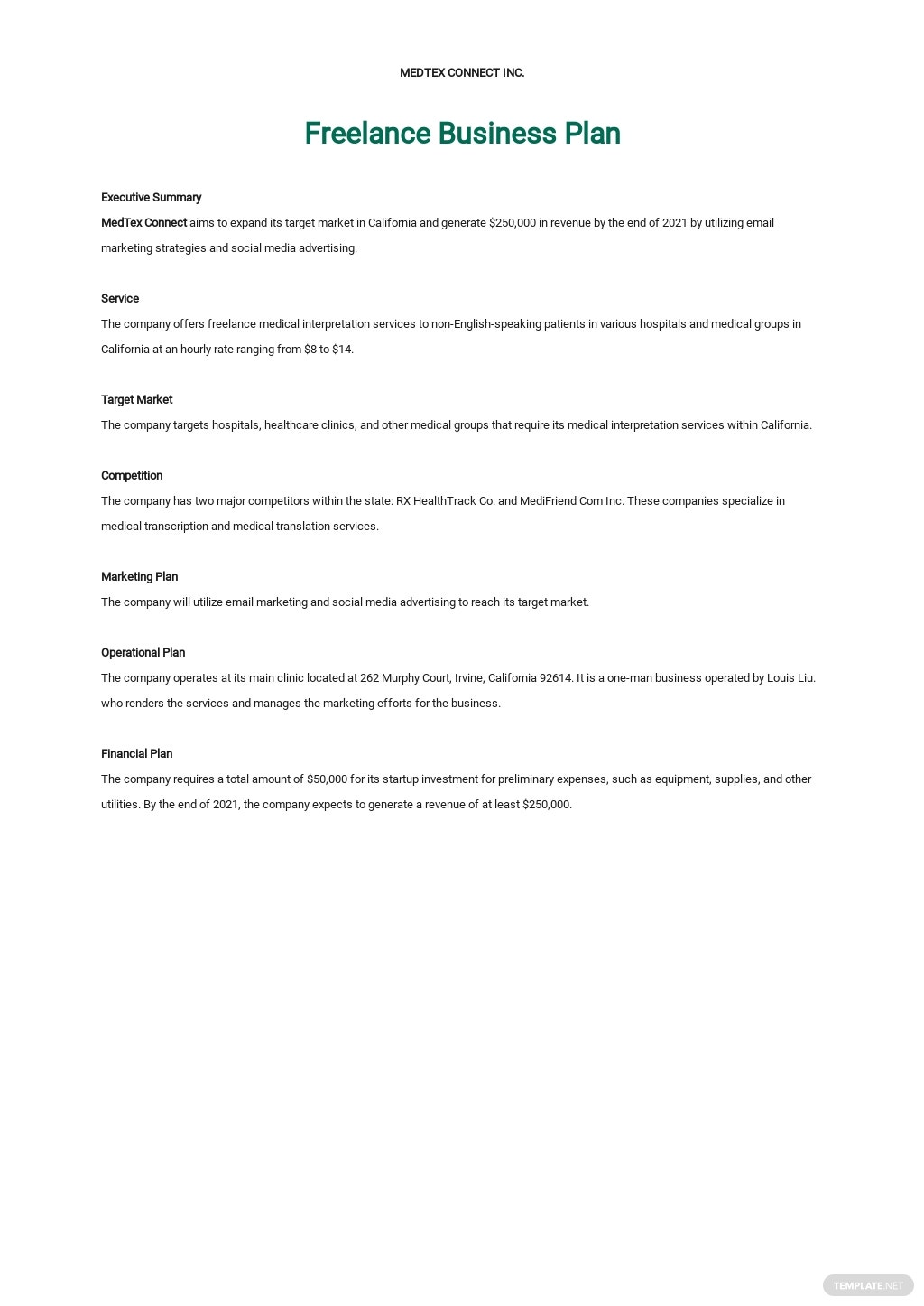 One Page Freelance Business Plan Template
