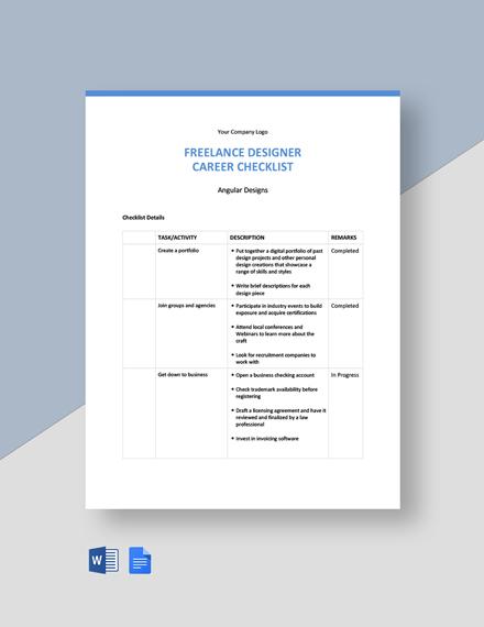 Freelancer Career Checklist Template
