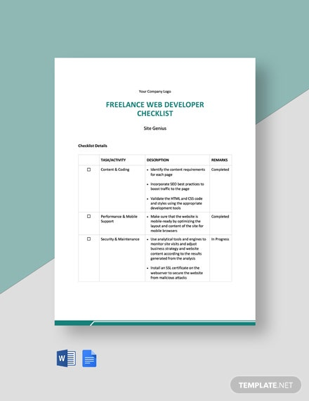 Freelance Web Developer Checklist Template
