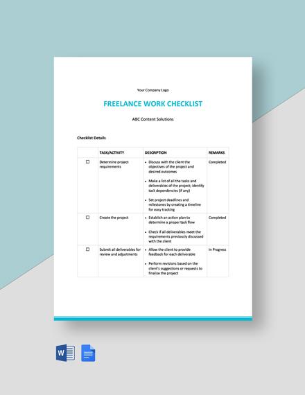 Freelance Work Checklist Template