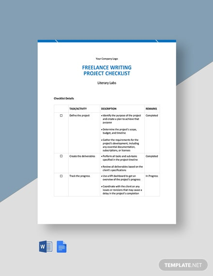 Freelance Project Checklist Template