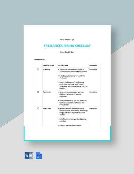 Freelancer Hiring Checklist Template