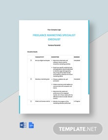 Freelance Marketing Checklist Template