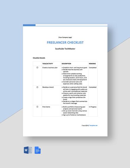 Free Basic Freelancer Checklist Template
