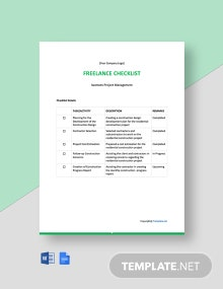 Free Sample Freelance Checklist Template