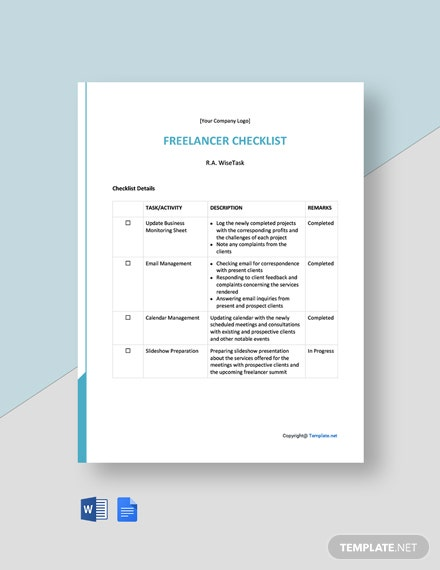 Free Freelancer Checklist Template