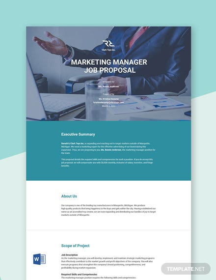 Job Proposal Sample Template