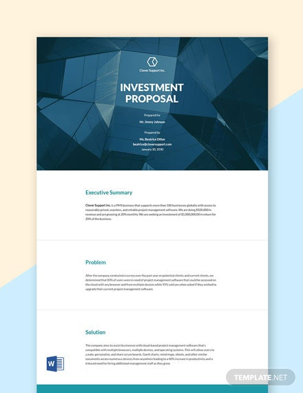 Investment Proposal Sample Template