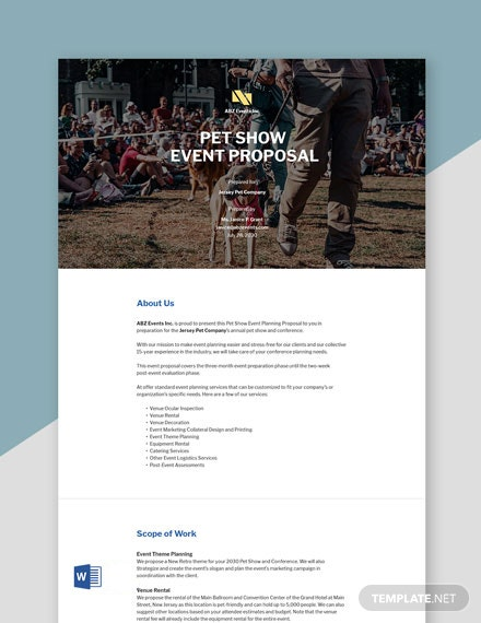 Event Proposal Sample Template