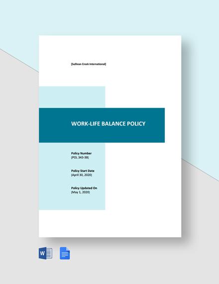 Work Life Balance Policy Template