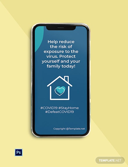 Free Coronavirus COVID-19 Stay at Home Instagram Story Template
