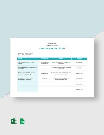 Freelance Project Sheet Template