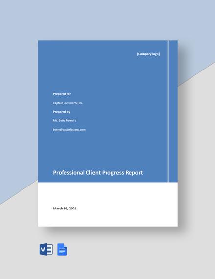 Professional Client Progress Report Template