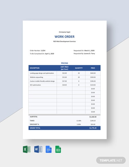 Freelance Contract Work Order Template