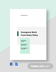 Emergency Work From Home Policy Template